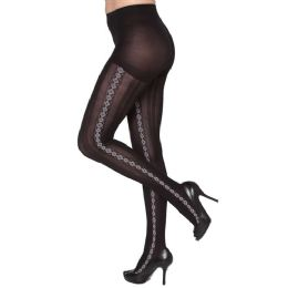 24 Units of Queen Size Diamond Stripe Down Side Tights - Womens Pantyhose