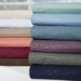 12 Units of Embossed Vine Sheet Set In Queen Size In Sage - Bed Sheet Sets