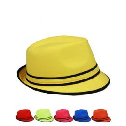 12 Units of Fedora Hats For Summer Assorted Colors - Fedoras, Driver Caps & Visor