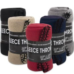 "24 Units of Fleece Blankets 30"" x 40"" - 5 Assorted Colors - Bulk Buy - Sleep Gear"
