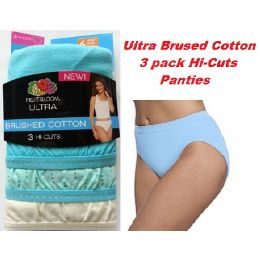 """36 Units of FRUIT OF THE LOOM LADIES 3 PAIR """"ULTRA"""" BRUSHED COTTON HI-CUTS SIZE 8 - Womens Panties & Underwear"""