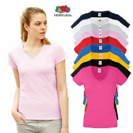 72 Units of Fruit Of The Loom Womens Assorted Color V Neck T Shirts, Size M - Women's T-Shirts