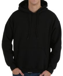 90 Units of Gildan Mens Black Irregular Fleece Hoodie Assorted Sizes - Mens Sweat Shirt