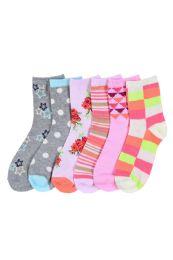 216 Units of GIRL'S ASSORTED DESIGN CREW SOCKS SIZE 6-8 - Girls Crew Socks
