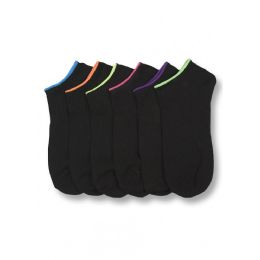 432 Units of Girl's Black Spandex Ankle Socks With Neon Color Top - Girls Ankle Sock