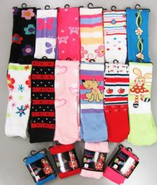 120 Units of Girls Acrylic Tights With Print Size Small - Childrens Tights