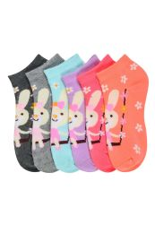 432 Units of GIRLS ANKLE SOCK PRINTED BUNNY DESIGN SIZE 4-6 - Girls Ankle Sock