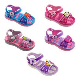 60 Units of Girls Cartoon Sandal In Pink And Grey - Girls Flip Flops