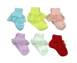 120 Units of Girls Classic Ribbed Lace Ankle Socks- Size M- ASSORTED COLORS - Girls Ankle Sock