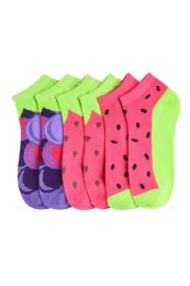 432 Units of Girls Fruit Printed Ankle Socks Size 4-6 - Girls Ankle Sock