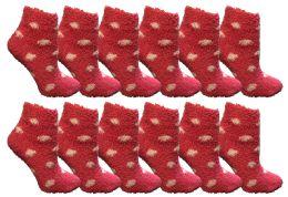 12 Units of Yacht & Smith Girls Fuzzy Snuggle Socks Pink Polka Dots Size 6-8 - Womens Fuzzy Socks