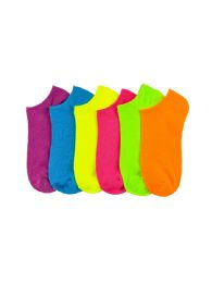 216 Units of Girls Neon Spandex Ankle Socks Size 9-11 - Girls Ankle Sock