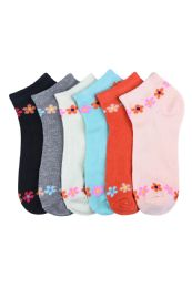 432 Units of Girls Printed Casual Spandex Ankle Socks Size 9-11 Daisy Chain - Girls Ankle Sock