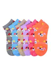432 Units of Girls Printed Casual Spandex Ankle Socks Size 4-6 - Girls Ankle Sock