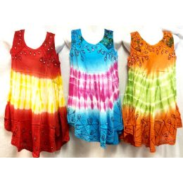12 Units of Girls Rayon Tie Dye Dress with Sequins - Girls Dresses and Romper Sets