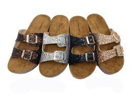 24 Units of GLITTER BIRKENSTOCK WOMEN SANDALS IN BLACK - Women's Sandals