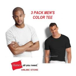 24 Units of HANES 3 PACK MEN'S COLOR CREW NECK T-SHIRTS - SLIGHTLY IMPERFECT SIZE LARGE - Mens T-Shirts