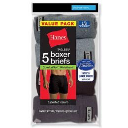 120 Units of Hanes Mens Assorted Colors Boxer Brief Size M - Mens Underwear