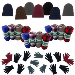 36 Units of Homeless Care Package Supplies - Bulk Case of 12 Glove Pairs, 12 Winter Throw Blankets, 12 Beanies - Winter Gear