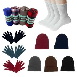 48 Units of Homeless Care Package Supplies 12 Glove Pairs, 12 Socks, 12 Winter Throw Blankets, 12 Beanies - Winter Gear