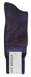 Ike Behar Men's Designer Glitter Dress Socks, Tuxedo Socks , Fits Shoe Sizes 7-12 Navy Gold - Mens Dress Sock