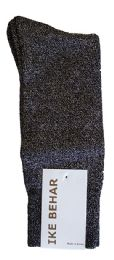Ike Behar Men's Designer Glitter Dress Socks, Tuxedo Socks , Fits Shoe Sizes 7-12 Black Black Silver Sparkle - Mens Dress Sock