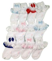 144 Units of Infants Ribbon Lace Sock Size Medium - Boys Crew Sock