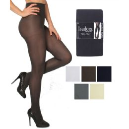 48 Units of Isadora Microfiber Spandex Tights In Queen Size Charcoal - Womens Pantyhose
