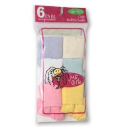 36 Units of Kid's Socks Assorted Sizes Of 4-6 - Girls Crew Socks