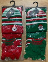 36 Units of Kids 3 Piece Christmas Santa Themed Winter Set , Hat Glove Scarf Ages 5-10 - Winter Sets Scarves , Hats & Gloves