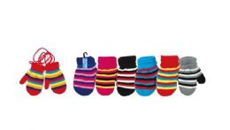 144 Units of Kids Mittens With Strings Fleece Lined - Kids Winter Gloves