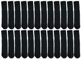60 Units of Yacht & Smith Kids Black Solid Tube Socks Size 4-6 BULK PACK - Boys Crew Sock