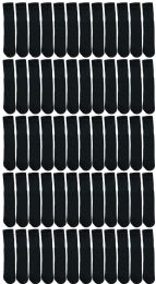 48 Units of Yacht & Smith Kids Solid Tube Socks Size 6-8 Black - Boys Crew Sock