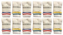 120 Units of Yacht & Smith Kids Cotton Tube Socks White With Stripes Size 4-6 - Boys Crew Sock