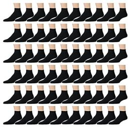120 Units of Yacht & Smith Kids Cotton Quarter Ankle Socks In Black Size 4-6 - Boys Ankle Sock