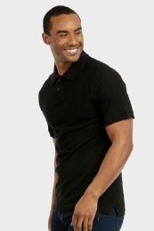 30 Units of KNOCKER MEN'S SLIM POLO SHIRT IN BLACK SIZE MEDIUM - Mens Polo Shirts