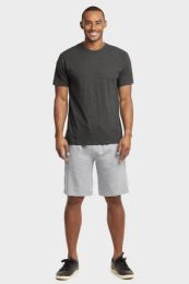 12 Units of Knocker Mens Lightweight Terry Shorts In Heather Grey Size Medium - Mens Shorts
