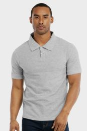 30 Units of KNOCKER MENS SLIM POLO SHIRT IN HEATHER GREY SIZE LARGE - Mens Polo Shirts