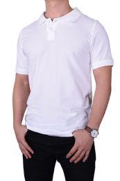 30 Units of KNOCKER MENS SLIM POLO SHIRT IN WHITE SIZE LARGE - Mens Polo Shirts