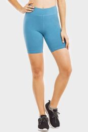 "48 Units of LADIES COTTON 15"" OUT-SEAM SHORTS WITH WIDE WAISTBAND IN SIZE MEDIUM - Womens Active Wear"