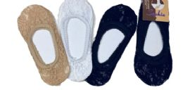96 Units of Ladies' Lace Foot Cover One Size Fits Most In Black - Womens Slipper Sock