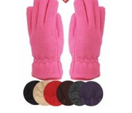24 Units of Ladies Thermal Fleece Glove Black Only - Fleece Gloves