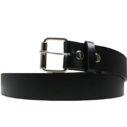 36 Units of Large Black Plain Belt - Belts