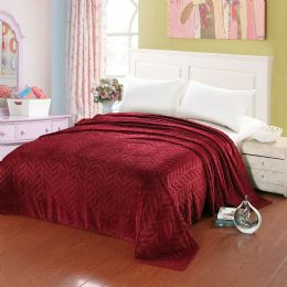 10 Units of Leaf Etched Blanket Queen Size In Red - Comforters & Bed Sets
