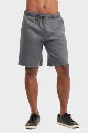 12 Units of Libero Mens Fleece Shorts In Charcoal Grey Size Medium - Mens Shorts