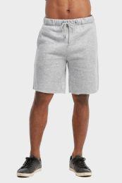 12 Units of Libero Mens Fleece Shorts In Heather Grey Size Large - Mens Shorts
