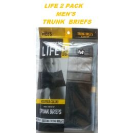 36 Units of LIFE 2 PACK MEN'S TRUNK BRIEFS ( FIRST QUALITY ) SIZE LARGE - Mens Underwear