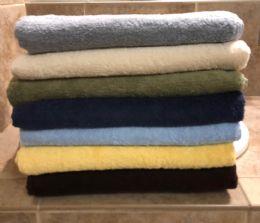 12 Units of Majestic Luxury Long Lasting Cotton Bath Towel In Size 27x52 In Bone - Bath Towels