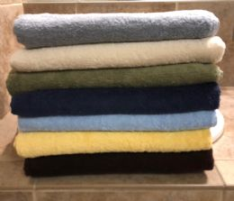 12 Units of Majestic Luxury Long Lasting Cotton Bath Towel In Size 27x52 In Light Blue - Bath Towels