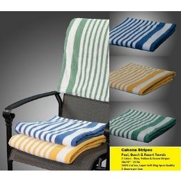 12 Units of Marina Collection Cabana-Stripe Beach Towel 100% Cotton Green  MT Color - Beach Towels